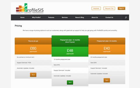 Screenshot of Pricing Page profilesis.com - ProfileSIS Pricing - captured Feb. 1, 2016