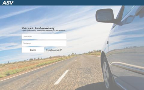 Screenshot of Login Page autosalesvelocity.com - ASV - Sign In - captured Oct. 4, 2014