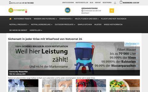 Screenshot of Home Page notvorrat24.ch - Notvorrat seit 2003 unsere Kernkompetenz - captured May 5, 2018