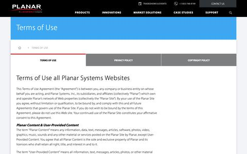 Screenshot of Terms Page planar.com - Terms of Use | Planar - captured Nov. 20, 2018