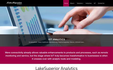 Screenshot of Home Page lakesuperioranalytics.com - LakeSuperior Analytics - IoT Consulting, Research & Analytics - captured Jan. 24, 2016