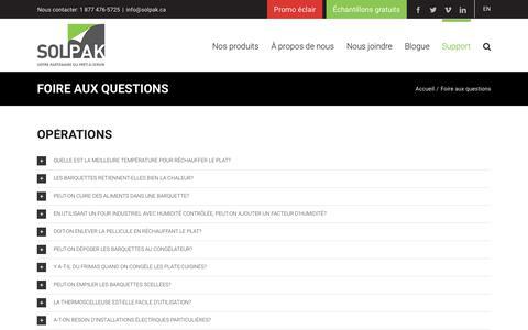 Screenshot of FAQ Page solpak.ca - Foire aux questions | Solpak - captured Sept. 27, 2018