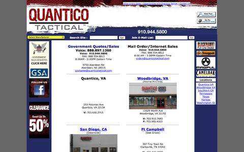 Screenshot of Contact Page Locations Page quanticotactical.com - Contacting Quantico Tactical - captured Oct. 22, 2014