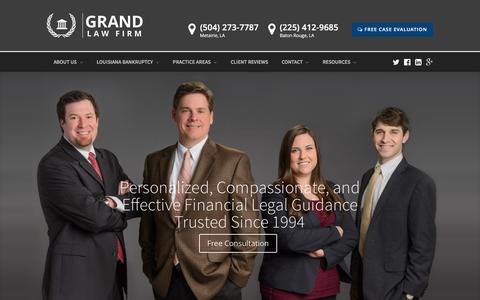 Screenshot of Home Page grandlawfirm.com - Baton Rouge and Metairie Bankruptcy and Debt Relief Attorneys - captured March 5, 2017