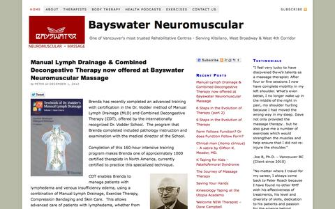 Screenshot of Home Page bayswater.ca - Bayswater Neuromuscular Massage - captured Oct. 5, 2014