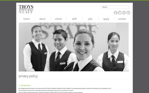 Screenshot of Privacy Page troys.com.au - privacy policy - captured Oct. 9, 2014