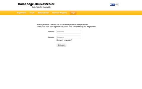 Screenshot of Login Page homepage-baukasten.de - Homepage-Baukasten.de - captured Oct. 26, 2014