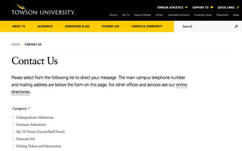 Screenshot of Contact Page towson.edu - Contact Us | Towson University - captured July 14, 2018