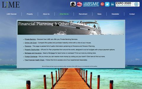Screenshot of Services Page lime-financial.com - LiME financial : Financial Planning | Wealth Management | What We Do - captured Nov. 7, 2016