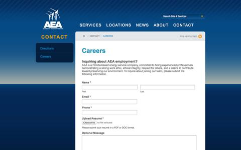 Screenshot of Jobs Page aeafl.com - Careers | Alternative Energy Applications - captured Oct. 4, 2014