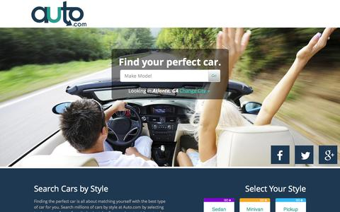 Screenshot of Home Page auto.com - Used Cars and New Cars | Browse Cars For Sale by City - Auto.com - captured Jan. 13, 2016