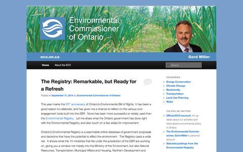 Screenshot of Blog eco.on.ca - Environmental Commissioner of Ontario | Ontario's Environmental Watchdog - captured Sept. 19, 2014