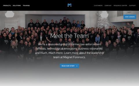 Screenshot of Team Page magnetforensics.com - Meet the Magnet Team - Magnet's Leadership Team | Magnet Forensics - captured March 14, 2019