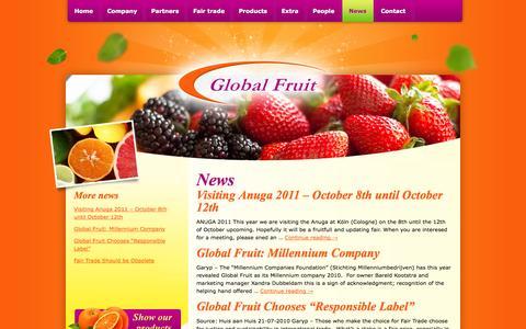 Screenshot of Press Page global-fruit.nl - News - Global Fruit B.V. - captured Sept. 30, 2014
