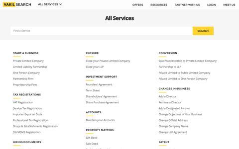 Screenshot of Site Map Page vakilsearch.com - Sitemap - Vakilsearch.com - captured Nov. 28, 2016