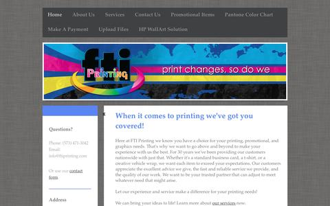 Screenshot of Home Page ftiprinting.com - Printing Services For Cards, Envelopes, & Wedding Invitations In Southeast Missouri - captured Aug. 3, 2016