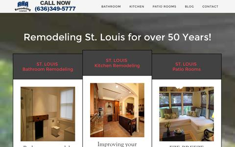 Screenshot of Home Page aaaremodeling.com - St. Louis Bathroom Remodeling - St. Louis Kitchen Remodeling - Patio Rooms - captured Oct. 4, 2014