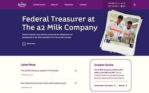 Screenshot of Home Page thea2milkcompany.com - The a2 Milk Company™| a2 Milk™| shareholders & investors - captured Feb. 4, 2016