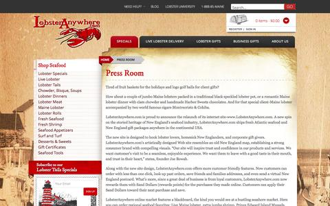 Screenshot of Press Page lobsteranywhere.com - Press Room - - captured Nov. 2, 2014