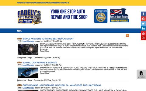 Screenshot of Press Page automasters.com - Fadely's Auto Masters News York, PA Dover, PA Spring Grove, PA Tires Shop - captured Oct. 13, 2017