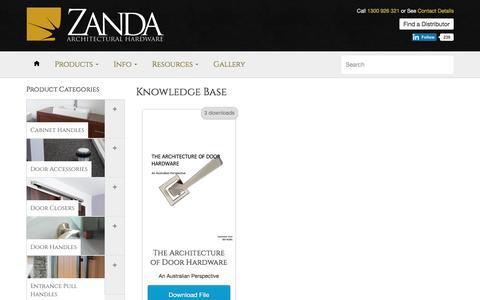 Knowledge Base - Zanda - Architectural Hardware