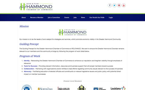 Screenshot of About Page hammondchamber.org - About | Greater Hammond Chamber of Commerce - captured July 4, 2018