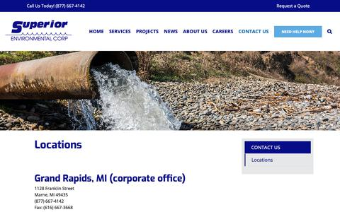 Screenshot of Locations Page superiorenvironmental.com - Locations - Superior Environmental Corporation - captured Oct. 18, 2018
