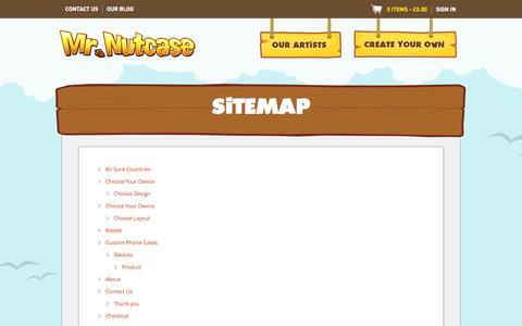 Screenshot of Site Map Page mrnutcase.com - Mr Nutcase - Login - captured Sept. 23, 2014