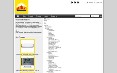 Screenshot of Site Map Page radiant.co.za - Radiant Lighting and Electrical - captured Oct. 9, 2014