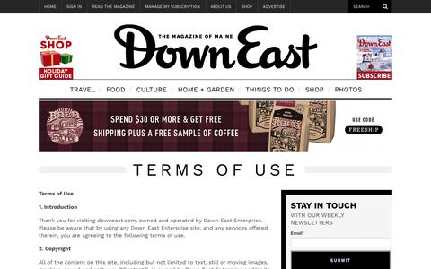 Screenshot of Terms Page downeast.com - Terms of Use - captured Dec. 19, 2018
