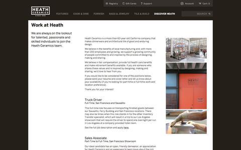 Screenshot of Jobs Page heathceramics.com - Jobs - Heath Ceramics - captured July 17, 2018