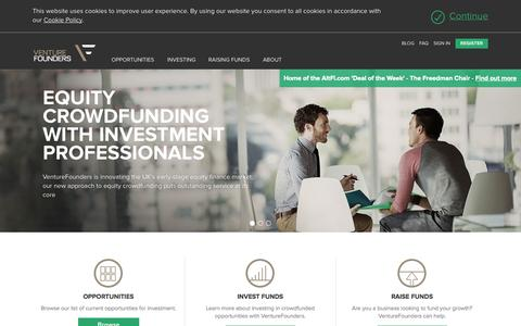 Screenshot of Home Page venturefounders.co.uk - VentureFounders   Home - captured Oct. 9, 2014