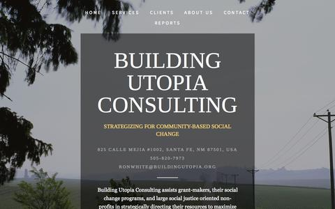 Screenshot of Home Page buildingutopia.org - Building Utopia Consulting - captured Oct. 5, 2014