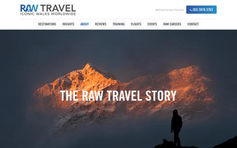 Screenshot of About Page rawtravel.com - About - RAW Travel - captured Nov. 20, 2018