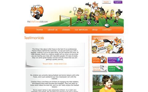 Screenshot of Testimonials Page thelittlefoxesclub.com - testimonials - The Little Foxes Club - captured Sept. 30, 2014