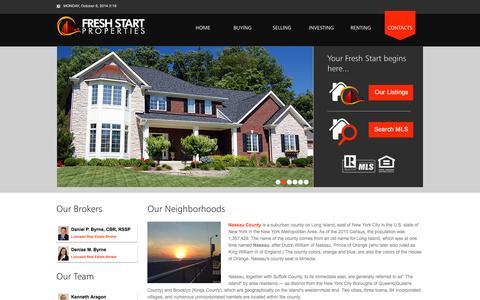 Screenshot of Contact Page 123freshstart.com - Fresh Start Properties - Contacts - captured Oct. 6, 2014