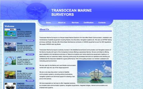 Screenshot of About Page transoceansurveyors.com - Transocean marine Surveyors - Home - captured Oct. 7, 2014