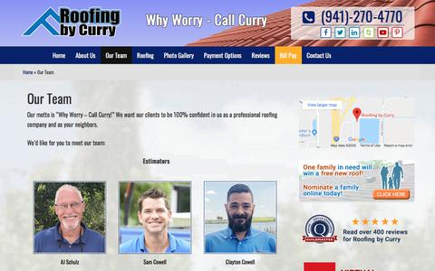 Screenshot of Team Page roofingbycurry.com - Our Team | Roofing by Curry | Sarasota FL - captured Jan. 14, 2020