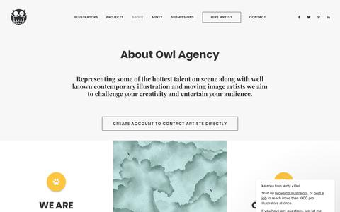 Screenshot of About Page owlillustration.com - About Owl Agency - Owl Agency - Illustration & Animation Artist Rep. - captured Oct. 18, 2018