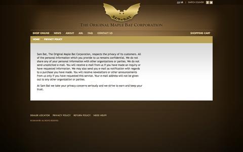 Screenshot of Privacy Page sambat.com - Privacy Policy   SAM BAT - The Original Maple Bat CorporationSAM BAT – The Original Maple Bat Corporation - captured Oct. 3, 2014