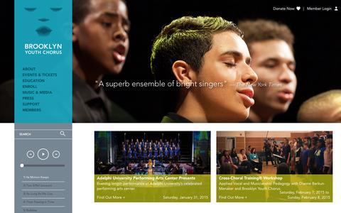 Screenshot of Home Page brooklynyouthchorus.org - Brooklyn Youth Chorus | Crossing Boundaries Through Sound - captured Jan. 24, 2015