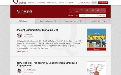 Screenshot of Blog qualtrics.com - Blog | Qualtrics - captured July 21, 2014