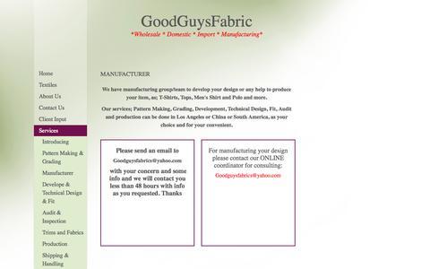 Screenshot of Services Page goodguysfabric.com - Good Guys Fabric - Manufacturer - captured July 24, 2015