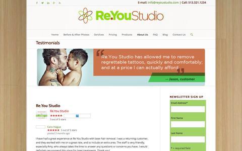 Screenshot of Testimonials Page reyoustudio.com - Laser Removal Testimonials - captured Nov. 29, 2016