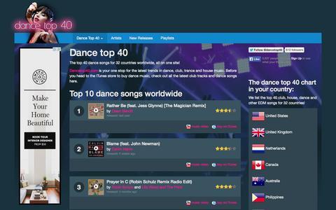 Screenshot of Home Page dancetop40.com - Dance top 40 - Today's top dance songs - captured Sept. 22, 2014