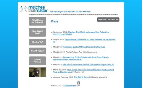 Screenshot of Press Page matchesthatmatter.com - Matches That Matter - captured Jan. 9, 2016