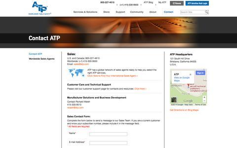 Screenshot of Contact Page atp.com - Contact Us - captured Sept. 19, 2014
