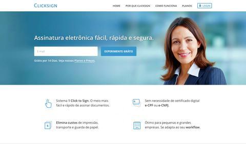 Screenshot of Home Page clicksign.com - Clicksign - Assinatura eletrônica de documentos - captured Sept. 30, 2014