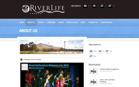 Screenshot of About Page riverlifechurch.tv - About Us  |  RiveLife Church | - captured Oct. 1, 2014