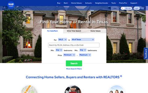 Screenshot of Home Page har.com - Texas Real Estate - Texas Homes for Sale - HAR - captured Oct. 1, 2015